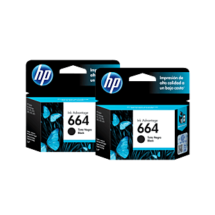 Pack de 2 Cartuchos de Tinta HP 664 Negra Original