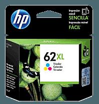 Cartucho original de tinta de alta capacidad HP 62XL tricolor