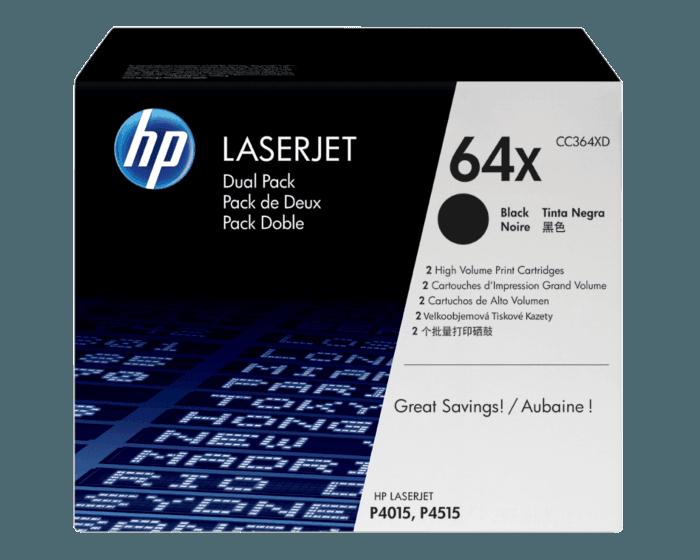 Pack de 2 Cartuchos de Tóner HP 64X Negro Alto Rendimiento LaserJet Original