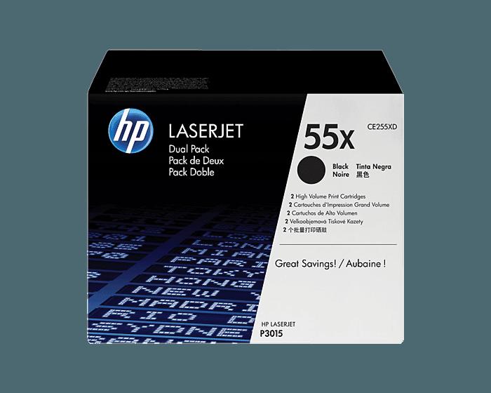 Pack de 2 Cartuchos de Tóner HP 55X Negro Alto Rendimiento LaserJet Original