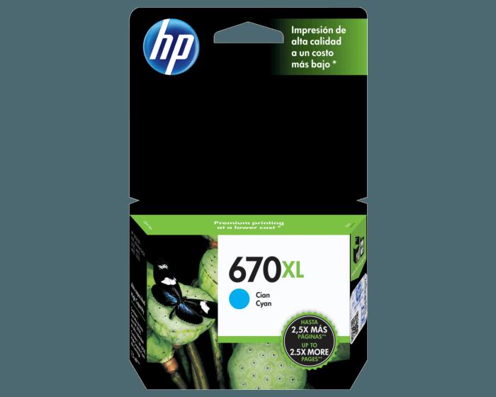 Cartucho de Tinta HP 670XL Cian Original