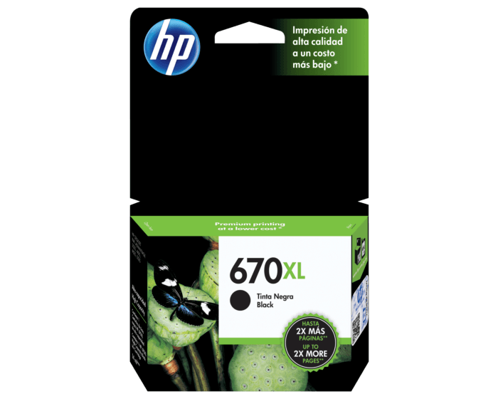 Cartucho de Tinta HP 670XL Negra Original