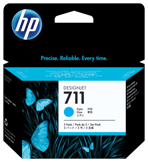 Pack de 3 Cartuchos de Tinta HP 711 Cian DesignJet Original 29 ml