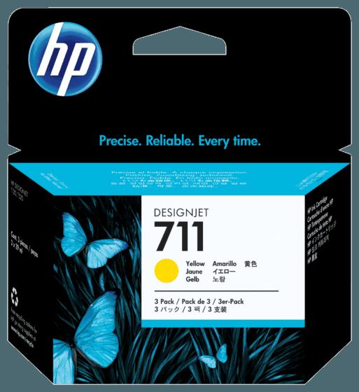 Pack de Ahorro de 3 Cartuchos de Tinta HP 711 Amarillo DesignJet Original de 29 ml