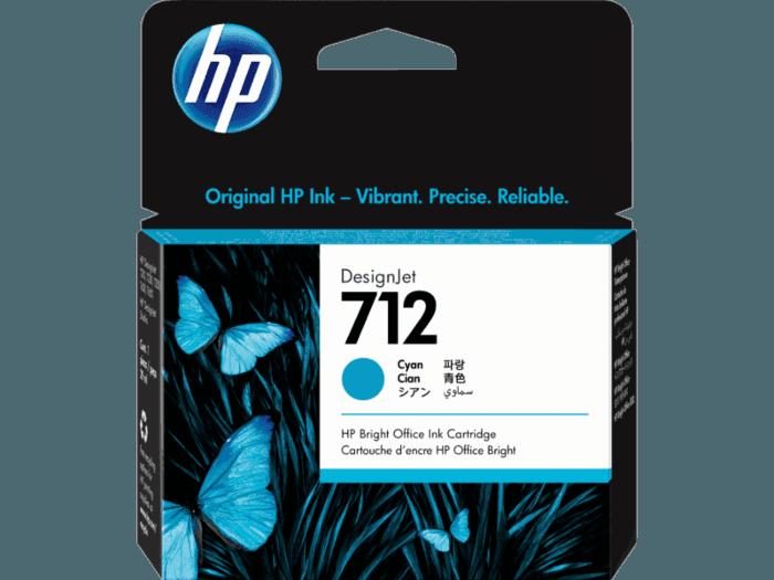 Cartucho de Tinta HP 712 Cian DesignJet Original de 29 ml