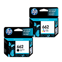 Pack de Cartuchos de Tinta HP 662 Negro + Tricolor Original