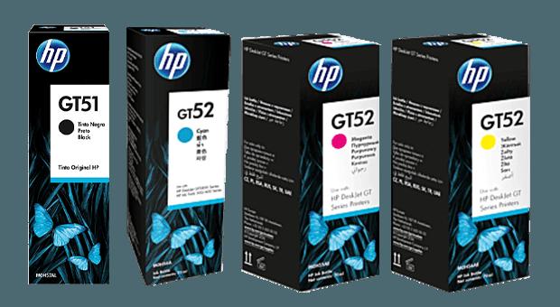 Familia de Botellas de Tinta HP GT51 y GT52