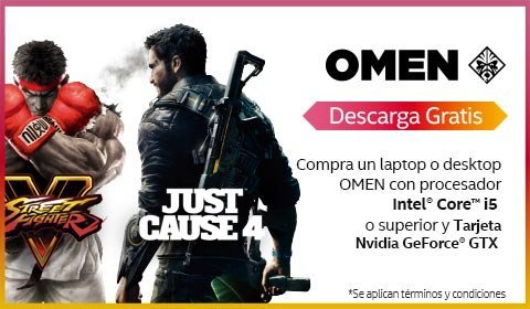 Compra una laptop o desktop OMEN con procesador Intel Core i5 o superior y tarjeta NVIDIA GEFORCE GTX y descarga gratis Street Fighter V y Just Cause 4