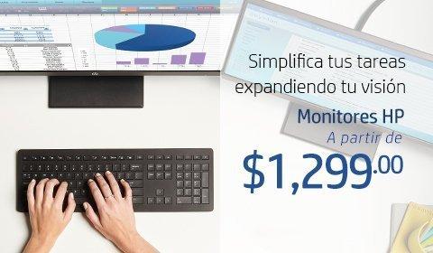 Simplifica tus tareas expandiendo tu visión. Monitores HP a partir de $1,299.00