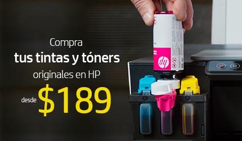 Compra tus tintas y tóners originales HP desde $189