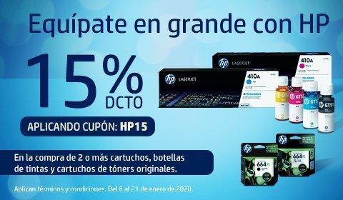 Compra tus tintas y tóners originales HP con 15% dto con cupón HP15